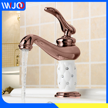 Basin Faucets Brass Diamond Luxury Bathroom Washbasin Sink Faucet Single Handle Hot and Cold Water Mixer Tap torneiras banheiro