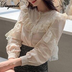 Image 2 - Dingaozlz موضة بلوزات من الدانتيل طويلة الأكمام أنيقة الإناث الدانتيل خياطة بلوزة غير رسمية 2019 جديد الكورية المرأة قميص