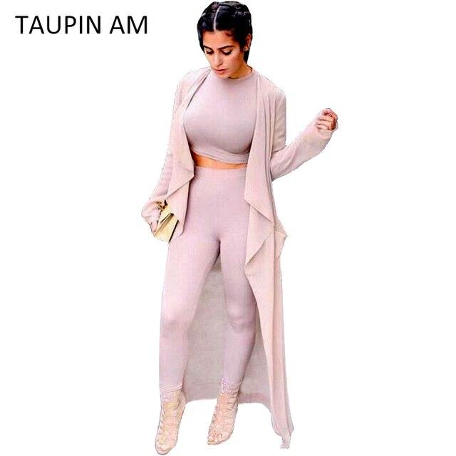 TAUPIN УТРА Хлопок женщины тренировочный костюм установить Случайный из двух частей спортивная с длинным рукавом растениеводство топ и брюки костюмы установить топ с коротким twinset