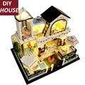 Большой размер ручной DIY миниатюрный кукольный домик мебель легкая музыка diy модель дом вилла творческий подарок любовника