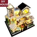 Large size Hand-made DIY miniature dollhouse furniture	light music diy model house villa creative lover gift