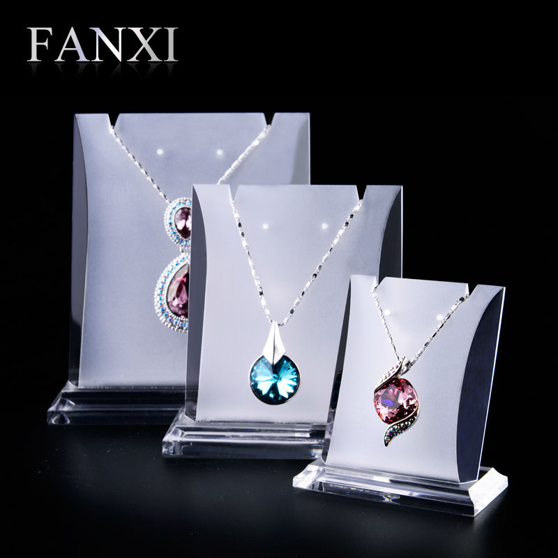 цена на Fanxi New Arrivals Necklace Earrings Display Shelf Stand Sets Matte Acrylic Showcase Rack Set with 3 pcs Exhibitor