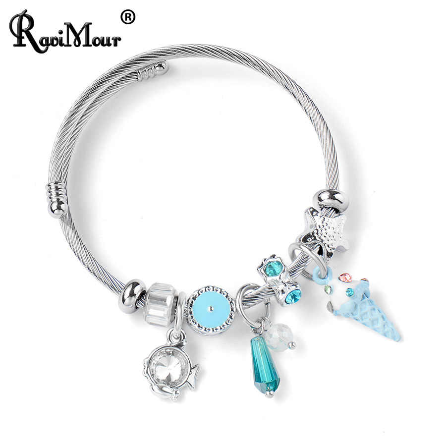 RAVIMOUR Charm Bracelets for Women Cable Wire Stainless Steel Cuff Bangle DIY Cute Ice Cream Crystal Open Pulseiras Jewelry 2019