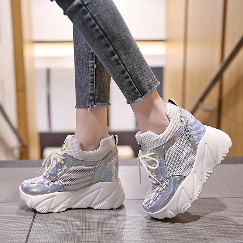 2019 Women's Casual Shoes Mesh Breathable Platform Wedge Heels Shoes 10CM Summer Mesh Sneakers White Shoes Zapatillas Deportivas