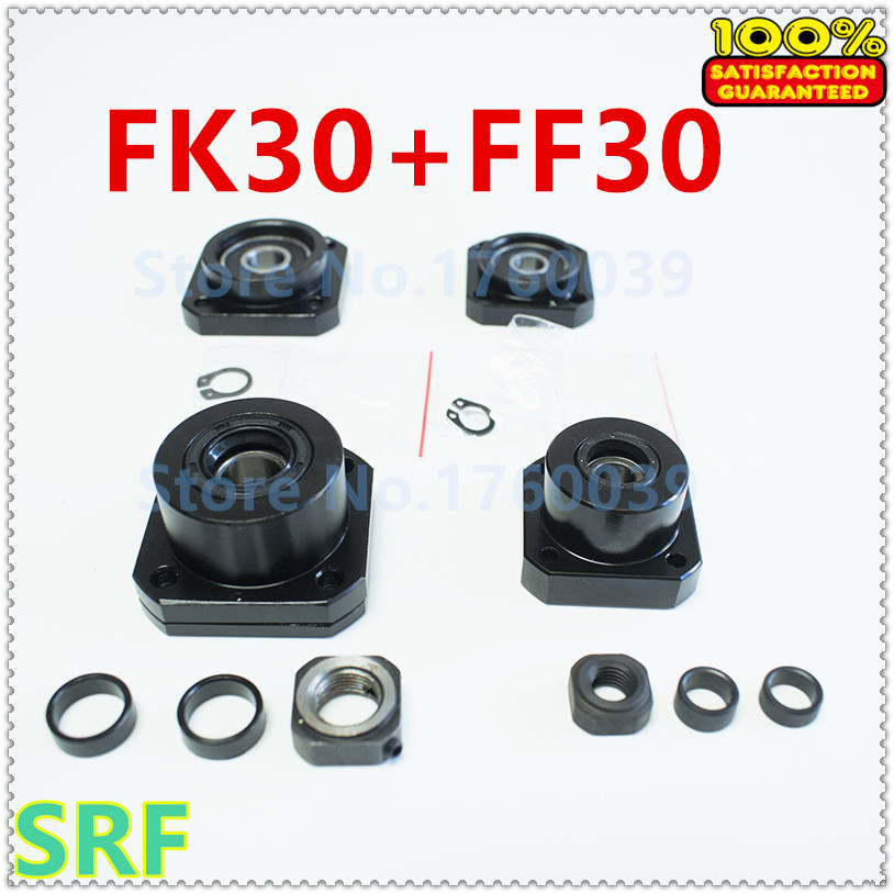 Ballscrew Support set:1pcs FK30 Fixed Side+1pcs FF30 Floated Side for 40mm Ballscrew SFU4005 SFU4010 end support CNC 10pairs lot fk30 ff30 ball screw end supports fixed side fk30 and floated side ff30 match with ball screw shaft