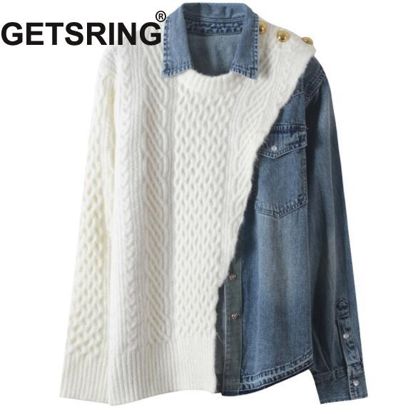 Pull Getsring Femmes Chandails À Spliced Tricoté As Picture Chandail Asymétrie Top Lâche Manches Col Longues Denim Roulé qGzMVUSp
