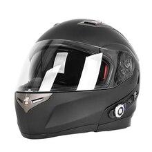 Bluetooth Casco de La Motocicleta de doble Lente Con Sistema de Intercomunicación de Radio FM Incorporado BT BM2-S