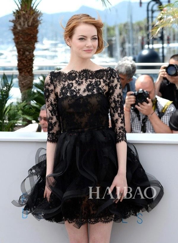 Little Black Dresses Emma Stone 2015 Cannes Film Festival Sexy Bateau Ball Gown Sheer Half Sleeves Short Prom Dress Organza Cocktail 119_conew1