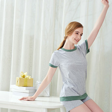 New Fashion Women Summer Pajamas Sets Solid Female Sleepwears Suits Short Sleeve Home Wear Night wears For Ladies size M L XL