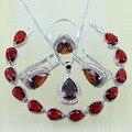 Reginababy Silver color Red created Garnet Hoop Earrings Bracelets Jewelry Sets Women Wedding Earrings/Ring/Pendant