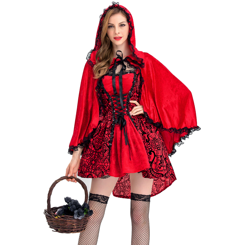 2018 New High Quality S-xl Adult Women Fairy Tale Little Red Riding Hood Costume Female Halloween Party Cosplay Fancy Dress
