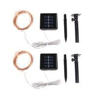 2 יחידות Solar Power אור מחרוזת נחושת LED 100 אור LED 10 m חוט לבן חם מנורת עבור חיצוני מסיבת חג מולד קישוט מנורת עץ