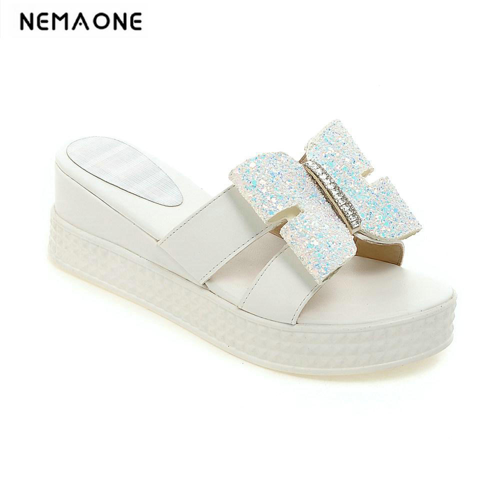 New fashion Wedges Sandals Summer Platform Shoes Woman Slip On shiny glitter Flats Casual Flip Flops new women sandals low heel wedges summer casual single shoes woman sandal fashion soft sandals free shipping