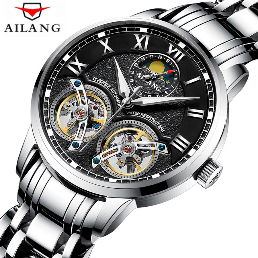 AILANG Double Tourbillon Mens Watches Top Brand Luxury Automatic Mechanical Watch Man Waterproof stainless steel Men Wristwatch ailang mens watches top brand luxury sports double tourbillon automatic mechanical brand watch men genuine leather strap watches