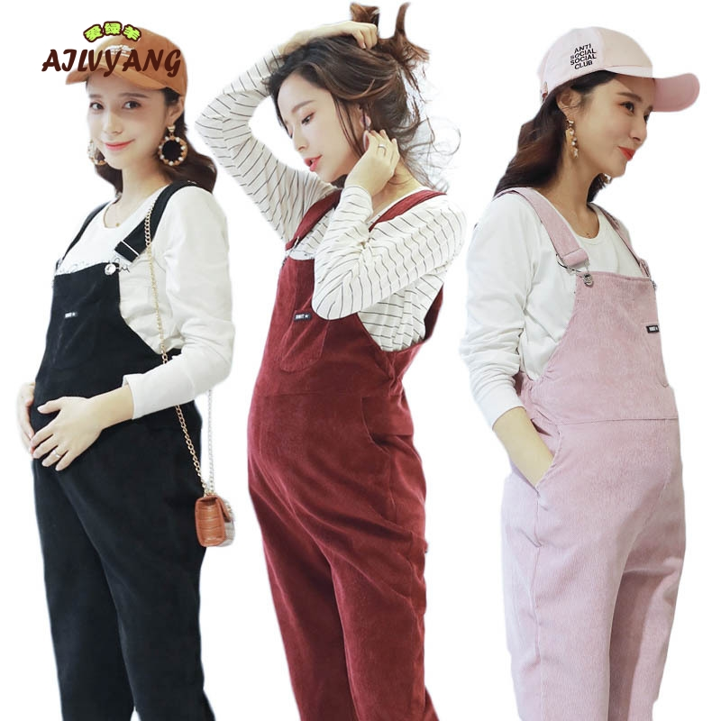 Pregnant Women Jumpsuit Maternity Corduroy Casual Pants Spring And Autumn Overalls Roupa Gestante Trousers