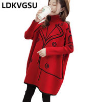 2018 Autumn Winter New Korean Female Cloak Sweater Loose Large Size High Collar Knit Pullover Sweater Red Black Bat Shirt Is910