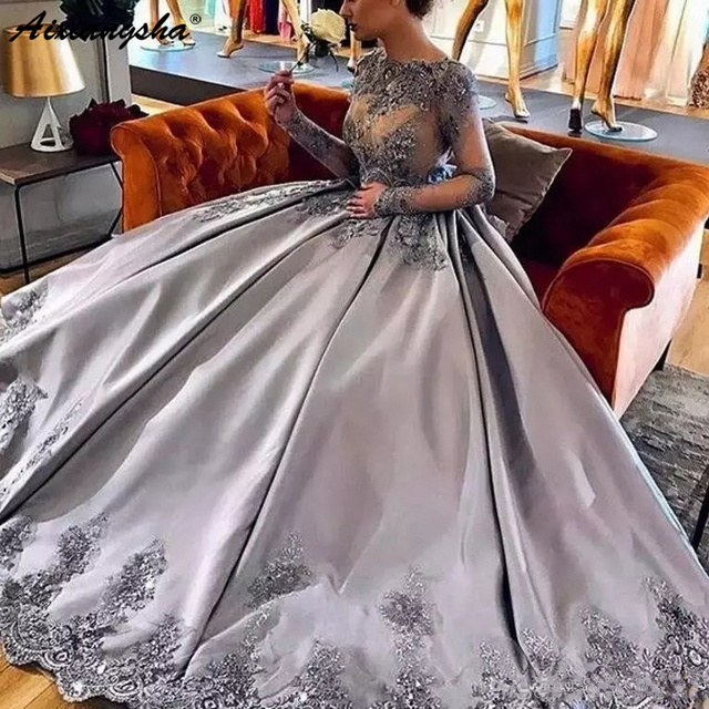 Elegant Silver Long Sleeves robe de soiree 2019 Lace Appliques Formal Prom Evening Gowns Luxury Long Appliue Evening Dresses