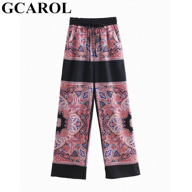 GCAROL 2019 Euro Style Women Toten Floral   Wide     Leg     Pants   Elastic Waist Casual Retro Pajama Style Spring Summer Trousers