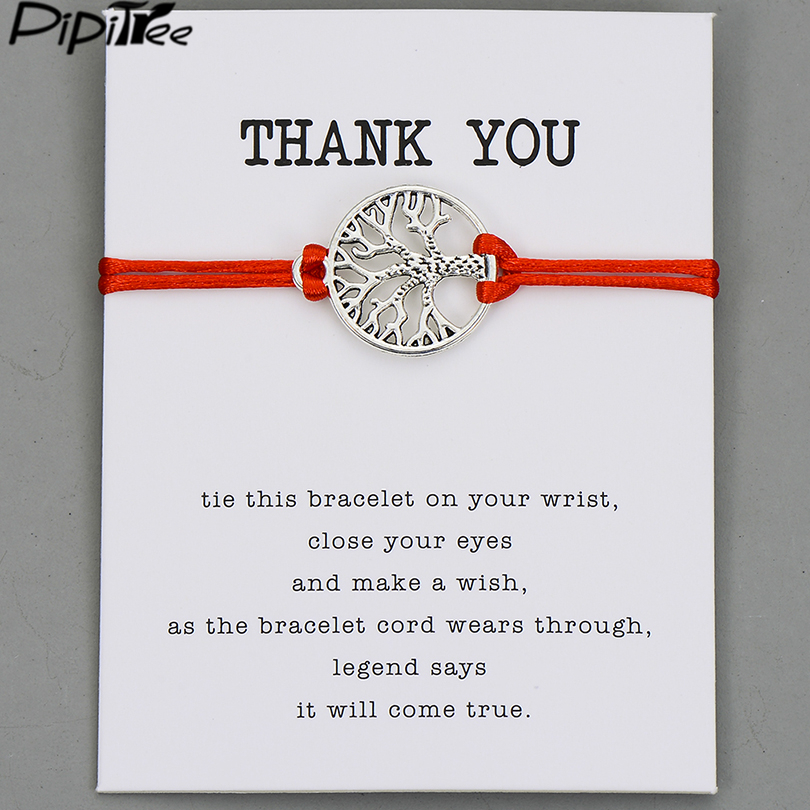Pipitree Life Tree Angel Leaf Heart Crown Charm Wish Bracelet Red String Bracelets for Women Men Kids Lovers Couple Jewelry Gift