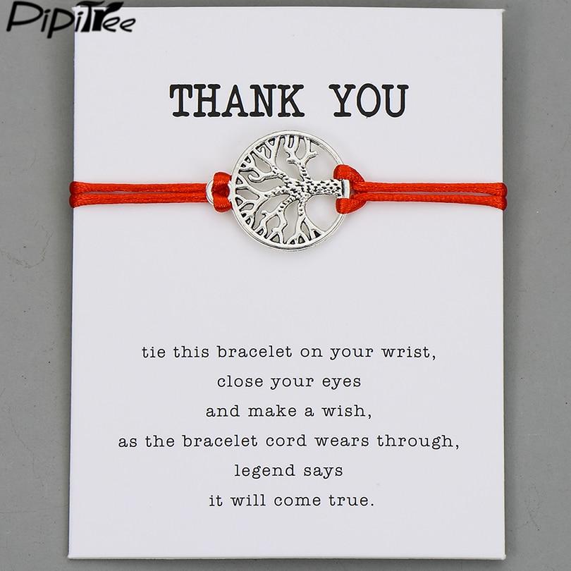 Pipitree Life Tree Angel Leaf Heart Crown Charm Wish Bracelet Red String Bracelets for Women Men Kids Lovers Couple Jewelry Gift