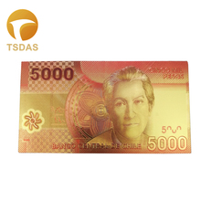 Chile Banknotes Normal Gold Leaf Plated 5000 Pesos Gold Banknote Present For Business Or Collection rombai chile
