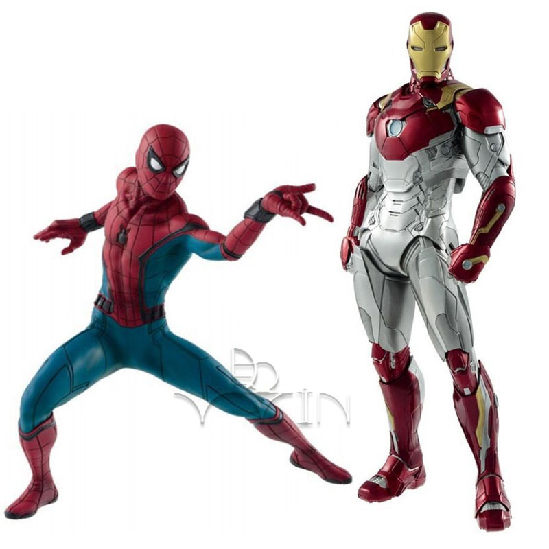 18cm Spider Man Homecoming Spiderman 26cm Iron Man MK47 PVC Figure Collectible Model for children toys gift