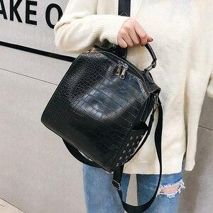 Image 4 - Fashion Women Leather Backpacks New Crocodile Pattern Travel BackPack Rivet Shoulder Bag Backpacks for Girls School Bag Backpack
