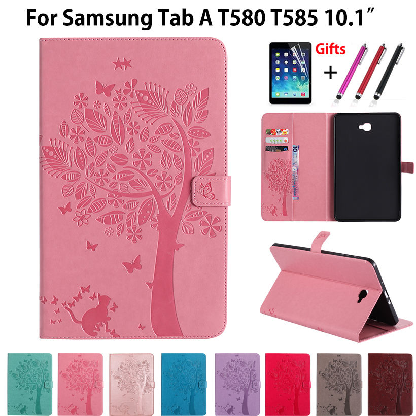 High quality PU leather Stand Case For Samsung Galaxy Tab A6 10.1 2016 T580 T585 SM-T585 T580N Cover Funda Tablet Cases+film+pen slim magnetic folding flip pu leather cover case for samsung galaxy tab a 10 1 2016 t585 t580 sm t580 t580n funda case film pen