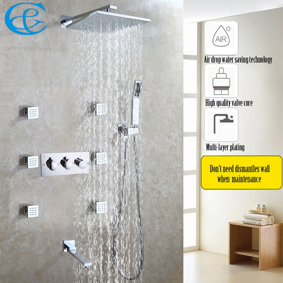 Bathroom Shower Faucet Set Hot And Cold Mixer Panel 10 Inch Air Water Saving Brass Chrome Rain Shower Head Bathroom Fixtures Shower Faucets
