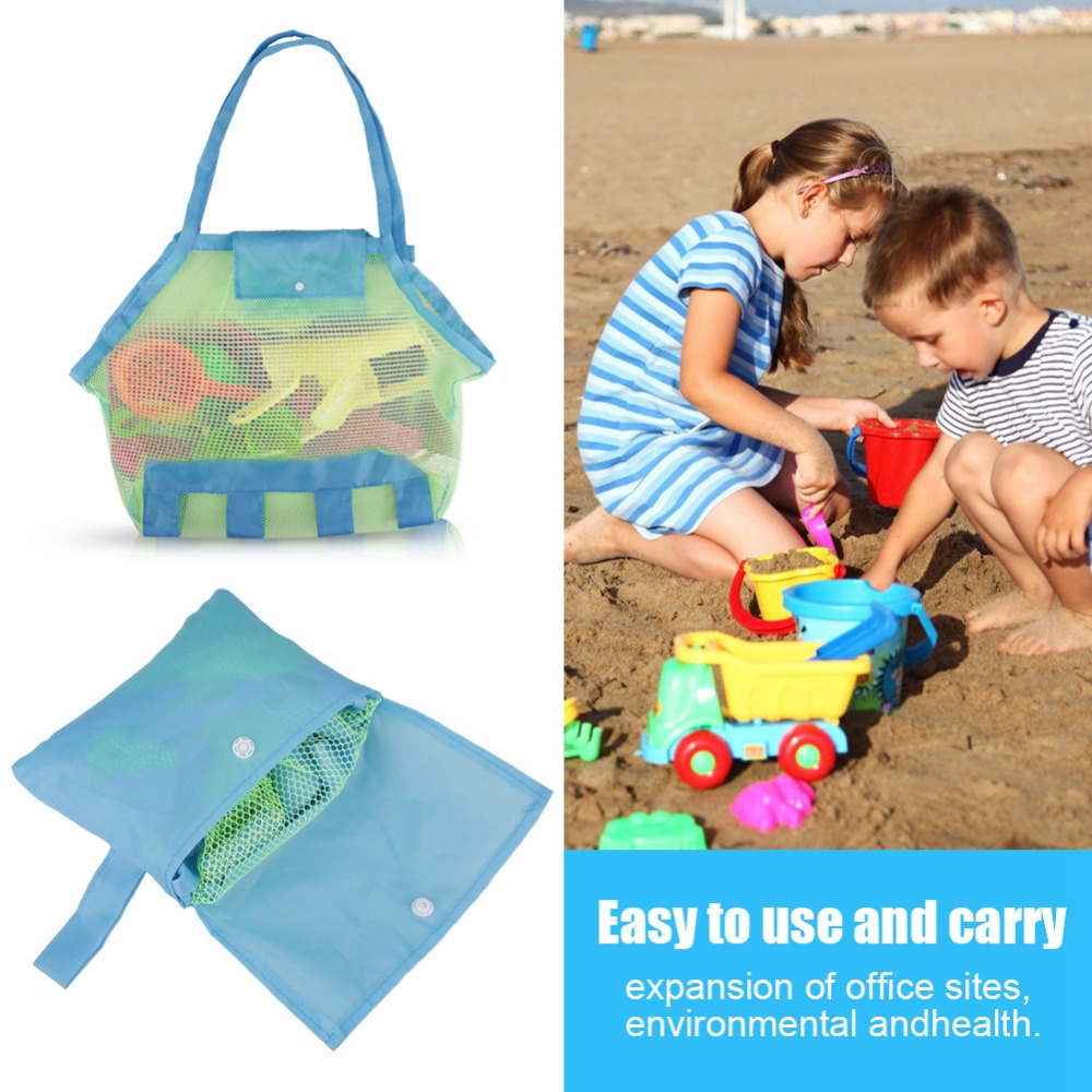 Swimming Accessories Practical 1pc Foldable Beach Bag Kids Children Mesh Storage Bag Oxford Cloth Beach Toy Baskets Storage Bag Sand Away Carry Beach #20 Swimming Bags