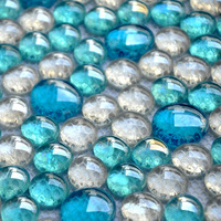 3D round blue mixed clear crystal mosaic tiles mesh backing EHM1002 bathroom shower wall mosaic kitchen backsplash pool tile