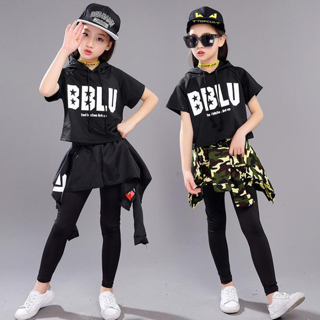 Kid Black Cropped Hoodie Shirt And Pants Hip Hop Dancing Outfits