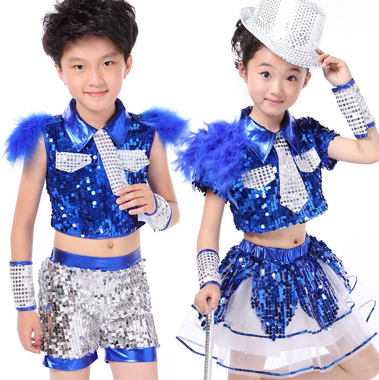 1115bc3ea Girls Boys Sequin Feather Ballroom Jazz Modern Hip Hop Dance ...