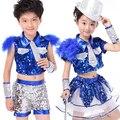Muchachos de las muchachas de Lentejuelas Pluma Salón de Baile Jazz Hip Hop Danza Moderna Traje Competencia para Los Niños Dancewear Ropa de Baile Top Cortos