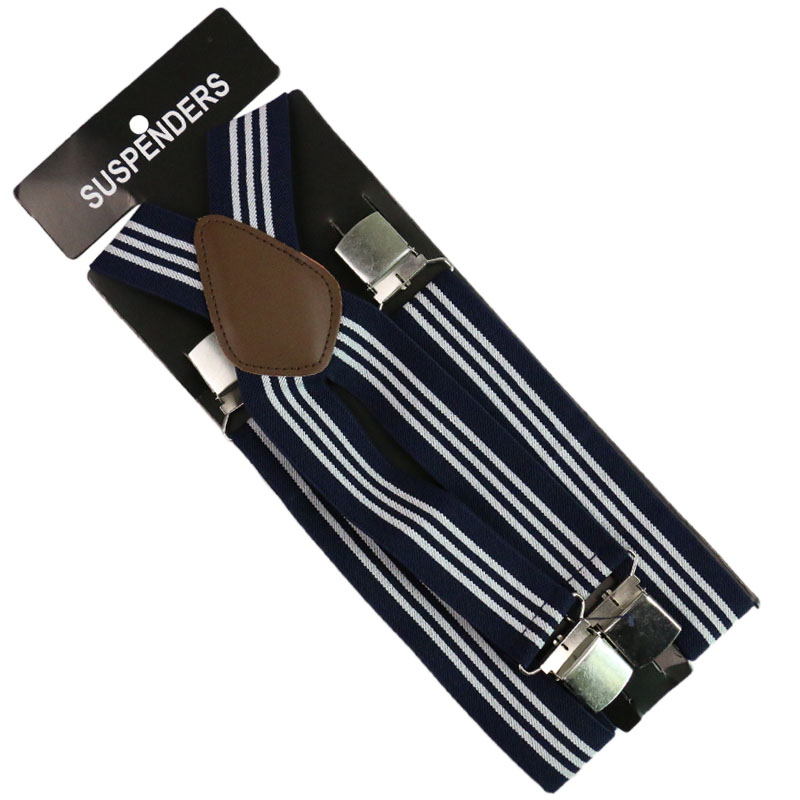 2019 New Unisex  3.5cm Wide Blue White Red Striped Adjustable Men Womens Y-Back Suspenders