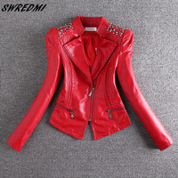 SWREDMI 2019 New Fashion Red Motorcycle Leather Jacket Women Rivet Zippers Biker Leather Coat Plus Size S 3XL Suede Outerwear
