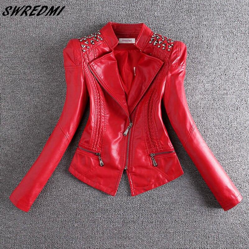 SWREDMI 2019 nouvelle mode rouge moto en cuir veste femmes Rivet fermetures à glissière Biker en cuir manteau grande taille S-3XL en daim vêtements d'extérieur