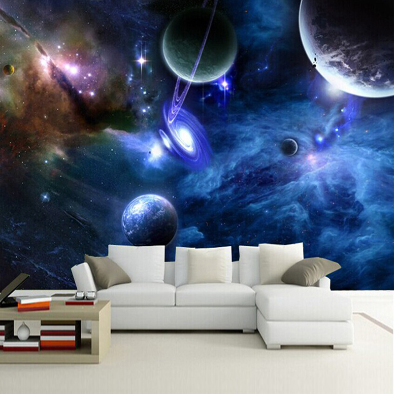 Custom 3D Photo Wallpaper Star Planet Universe Space Planet Wall Paper Home Decor Living Room Bedroom Ceiling Mural Wallpaper custom soft fleece throw blanket apartment decor outer space nebula galaxy stars mars jupiter with a tree on a planet print