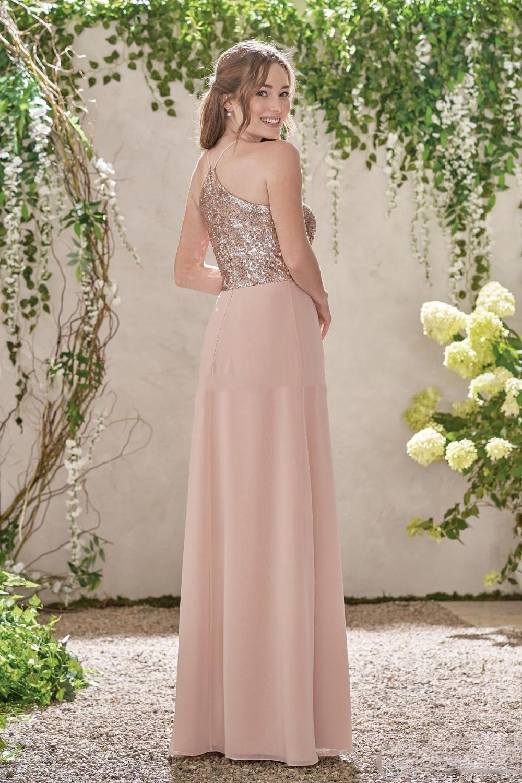 2017 de oro rosa largo de dama de honor vestidos de una línea ...