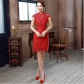 Vestido vermelho curto Qipao Chinês Tradicional Vestido sexy ladies Cheongsam Chinês INTELIGENTE PRESENTE ESPECIAL FECHAR CASAMENTO JS-MSF-0040