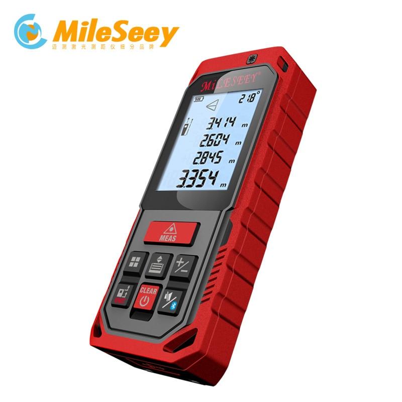 цена на Mileseey S2 Blue Digital Laser Rangefinder Case Tape Measure Laser Distance Meter Range Finder Tape Distance Measurer