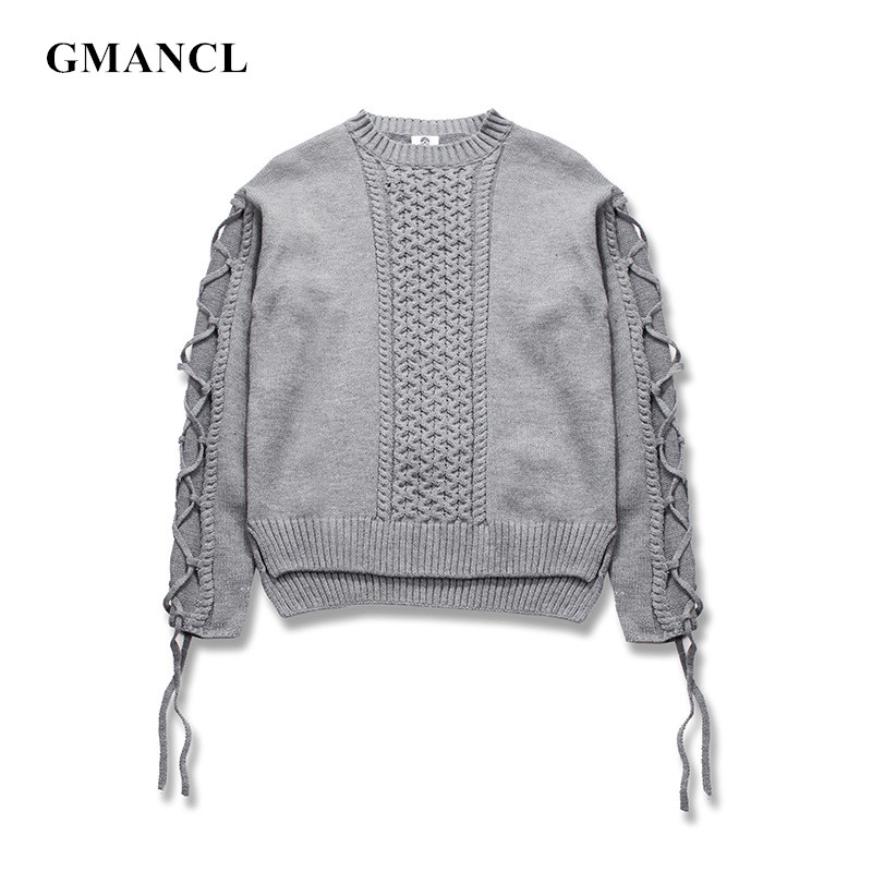 Streetwear Men Autumn Winter Distressed Drawstring Solid Sweater Oversized High Quality Warm Hip Hop Knitted Pullovers