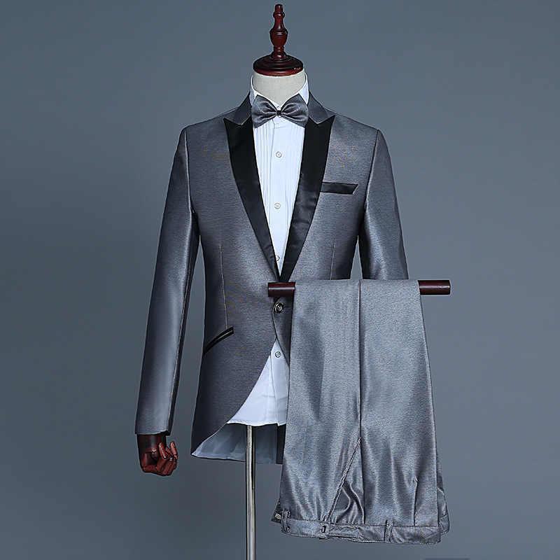 メンズ黒のエレガントなタキシードスーツ (ジャケット + パンツ) 新郎ディナー燕尾服男性ホスティング音響導体マジシャン衣装