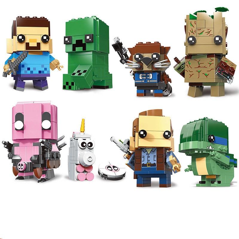 NEW Legoinges Brickheadz Marvel Super Heroe Deadpool Brick Heads Jurassic World Building Blocks Kids Toys Compatible With