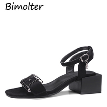 Bimolter Summer Open Toe Thick Heel Women Sandals Women Flock Square Heel Shoes Metal Decoration Classic Gladiator Shoes PSEA022 2018 new spring thick with heel women sandals shoes mixed colors leather flock round toe square strap heel women single pumps40
