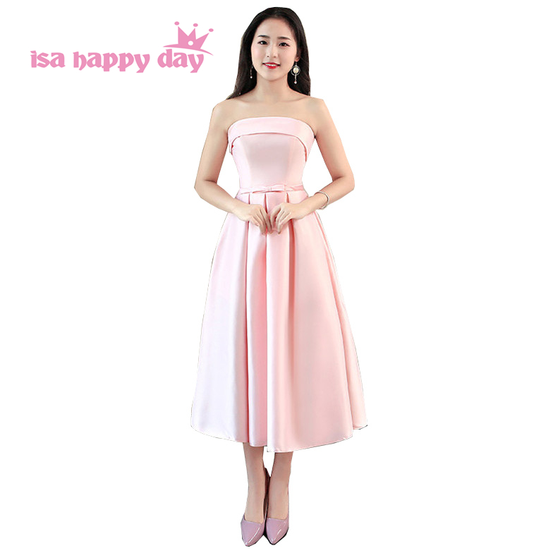 robe de mariage princesse 2019 new arrival light pink strapless   bridesmaid     dress   cheap lace up   dresses   for   bridesmaids   H4229