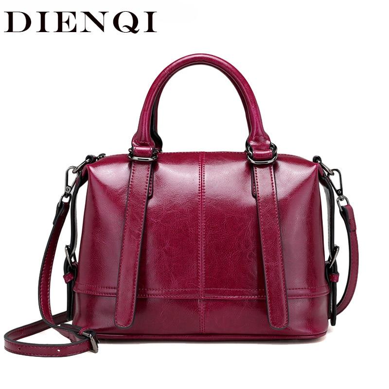 DIENQI Luxury Female Genuine Leather Boston Messenger Bag Crossbody Bag Fashion Small Women Leather Handbags Ladies