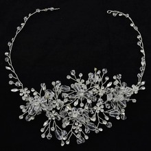 Fashion Leaves Color bridal hair accessories Handmade Crystal Hair Jewelry Wedding Accessories Headband Women Headpiece slbridal handmade crystal rhinestone pearls flower wedding hair clip barrettes bridal headpiece hair accessories women jewelry