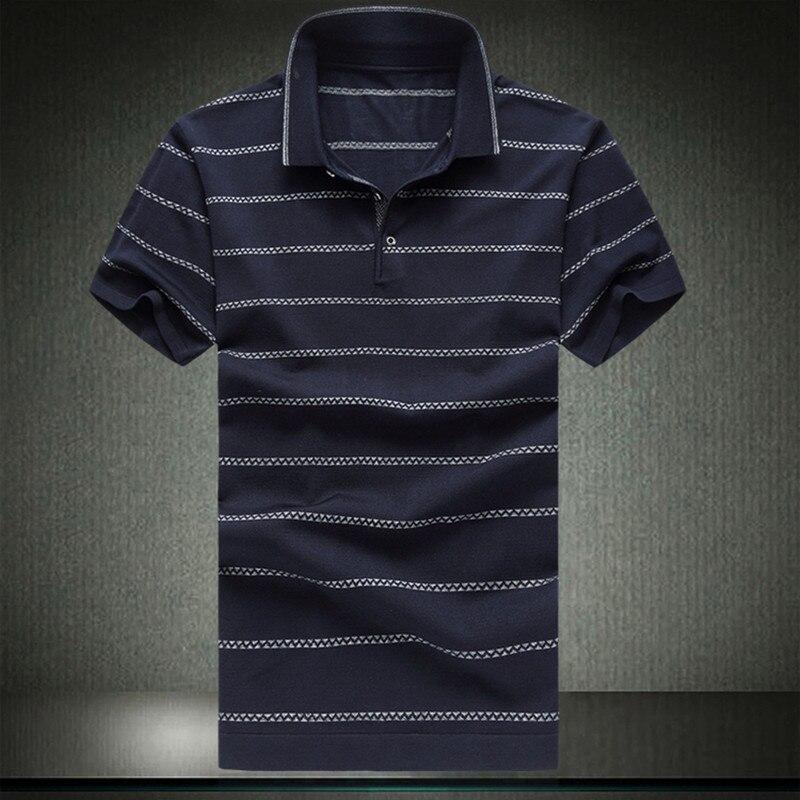 Polo homme moyen-âge homme vêtements d'été à manches courtes Camisa fairy Polo soie coton hauts à rayure grande taille 4XL 5XL 6XL 8730