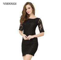 Yaz Elbise 2018 Siyah Beyaz Mavi Moda Dantel Dikiş Fermuar Dekorasyon Artı Boyutu Vestidos Zarif Parti Rahat Elbiseler S348